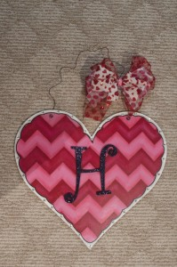 Heart with Pink and Red Chevron