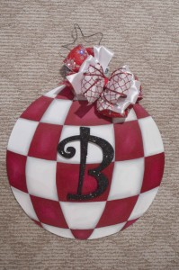 Ornament - Red and White with Monogram