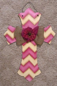 Cross - Pink Chevron
