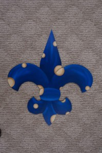 Fleur di Lis - Blue with Tan