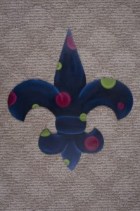 Fleur di Lis - Dark Blue with Multi