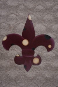 Fleur di Lis - Maroon with Tan and Black