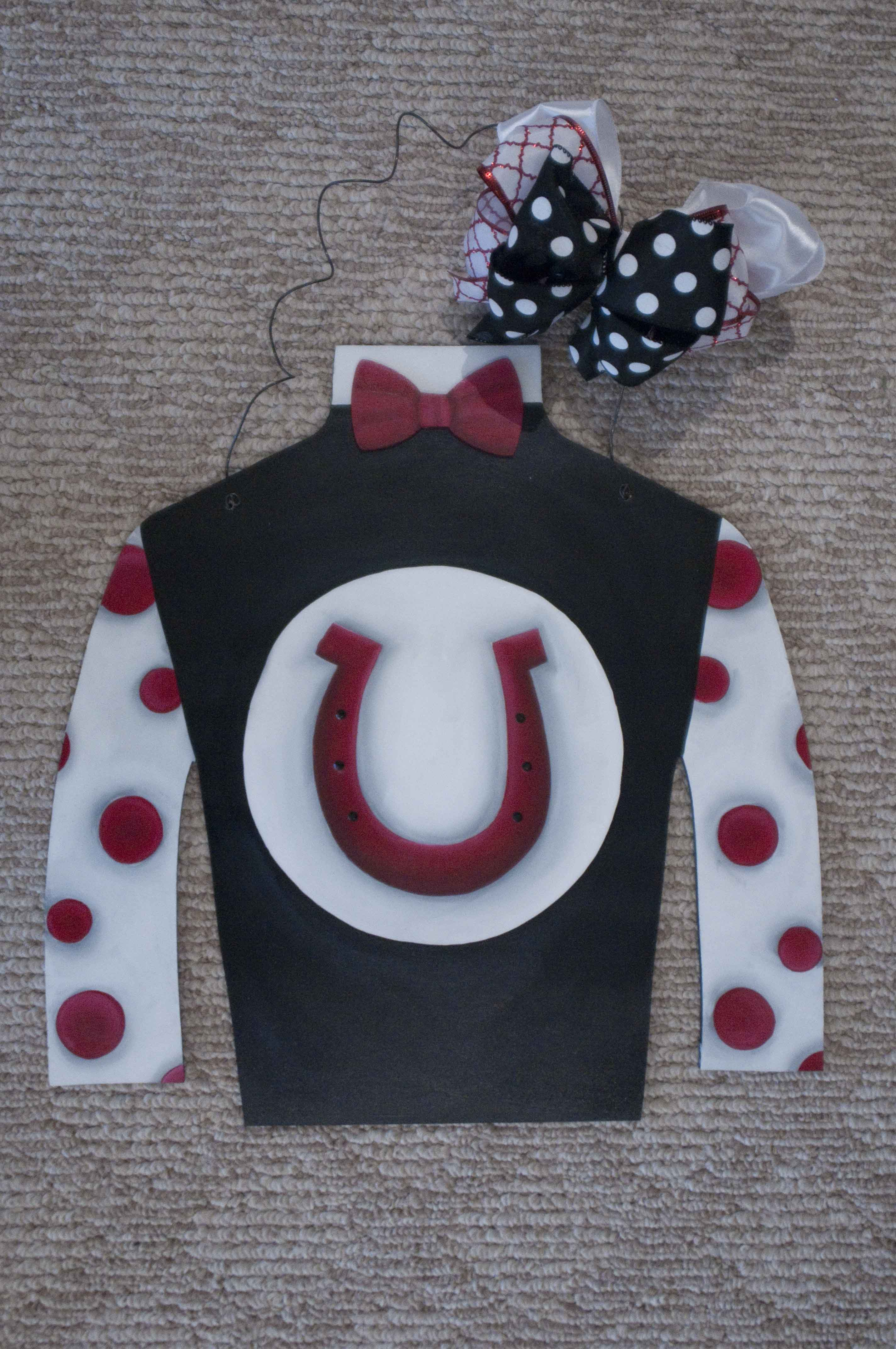 Jockey Silk - Black w Red Horseshoe
