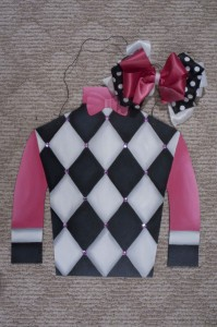 Silk - Black and White Argyle w Pink