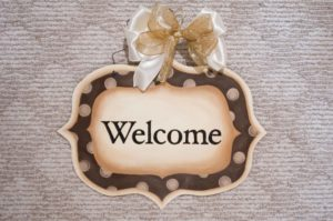 Welcome - Gold Polka Dots