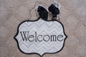 Welcome - Gray Chevron