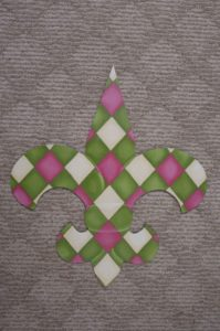 Fleur di Lis - Pink and Green Argyle