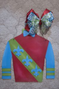 Jockey Silk - Red w Green Stripe and Blue Fleurs