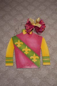 Silk - Pink-Green with Yellow Fleur di Lis 1