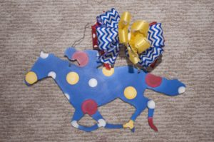 Horse w Jockey - Medium Blue w Multi Polka Dots