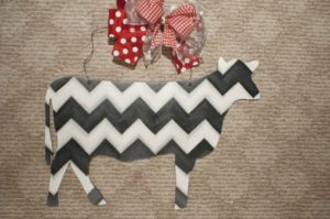 Cow - Black and White Chevron