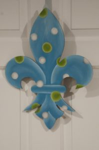 Fleur di Lis - Light Blue with Green-White Polka Dots